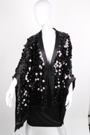 Sheila de Vries Couture Black Embellished Sequined Semi-Sheer Cape