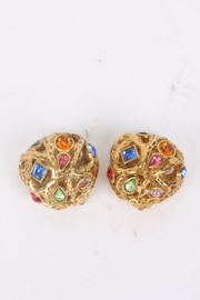 Yves Saint Laurent by Robert Goossens Gold Multicolour Rhinestone Clip-On Earrings