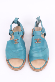 Chanel Blue Leather Calfskin Open Toe CC-Logo Slingback Sandals