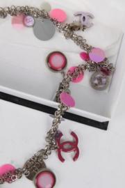 Chanel 2004 Fall/Winter (04P) Pink Silver Sequins Embellished Necklace/Belt