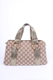 Gucci GG Canvas and Metal Bamboo Handbag Vintage - brown/gold