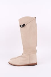 Hermès Jumping Riding Equestrian Leather Boots - beige