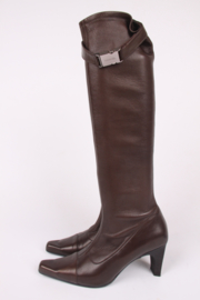 Chanel Stretch Leather Boots - dark brown