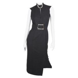 Thierry Mugler Fall/Winter 1992 Black High-Neckline Sleeveless Belted Dress