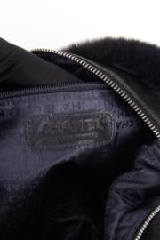 Chanel Blue Rabbit Fur Leather Three Chain Shoulder Handbag