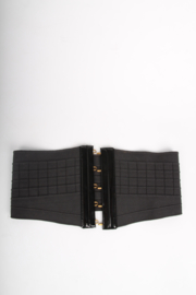 Yves Saint Laurent Elastic and Patent Leather Belt - black