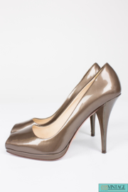Prada Peep-toe Pumps Patent Leather - bronze metallic