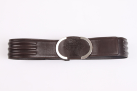 Versace Leather Belt - dark brown/silver