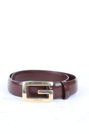 Gucci by Tom Ford Brown Leather Gold Buckle Belt