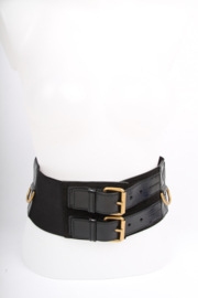 Yves Saint Laurent Elastic and Leather Belt - black