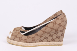 Gucci Canvas Peep Toe Wedge Shoe - beige ebony