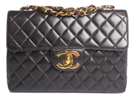 Chanel 2.55 Timeless Jumbo Flap Bag - black leather