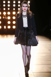 Saint Laurent Fall/Winter 2015 by Hedi Slimane lambskin leather pleated knee-high mini skirt