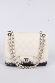 Chanel Classic Printed Lambskin Bag - black & white