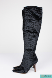 Tom Ford  for Gucci Velvet Beaded Over-knee Boots - black1 990S