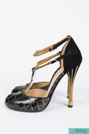 Gucci Ophélie Pumps Croco Leather - black/gold
