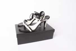 Chanel Leather High Heel Sandalettes - black & white
