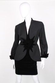 Thierry Mugler Black Wool Velvet Bow Starburst Skirt Suit