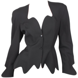Thierry Mugler Black Orange Asymmetrical Blazer Jacket Skirt Suit