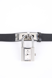 Hermes Kelly Lock PM Watch Grained Calfskin Leather Strap - black/silver