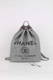 Chanel Blue Grey Canvas Raffia Leather Deauville Classic CC Logo Silver Coloured Hardware Drawstring Bucket Bag