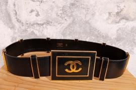 80's Vintage Chanel Riem - zwart/goud