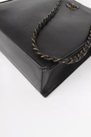 Chanel Black Calfskin Leather Small CC Logo Bronze Coloured Hardware Square Shopper Shoulder Hand Bag
