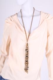 Vintage Chanel Necklace Bronze-tone - black beads