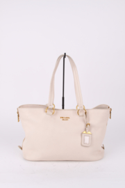 Prada Ivory Leather Crossbody Phenix Shopper Tote Bag