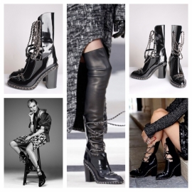 Chanel Chain Boots - black leather / silver