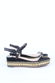 Christian Louboutin Cataclou 60 Black Gold Embellished Studded Suede Wedge Espadrille Sandals