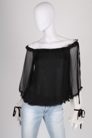 Valentino Translucent Silk Top - black/white
