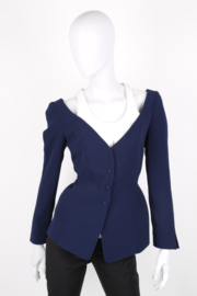 Thierry Mugler Navy Blue Wool Structured Disconnected White Collar Synched Wasp Waist Long Sleeve Jacket