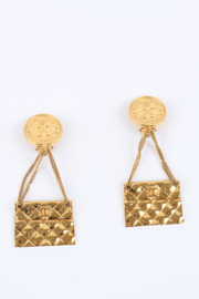 Chanel Quilted Bag 2.55 Earrings - gold