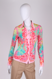 Versace Hawai Print Silk Blouse - pink/green/yellow