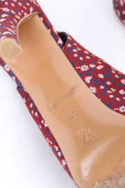 Louis Vuitton Silk Floral Catania Slingback Heels