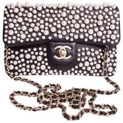 Chanel Pearly Flap Bag Cross Body WOC Wallet on Chain - black