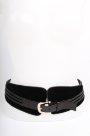 Gucci Leather and Velvet Belt - black
