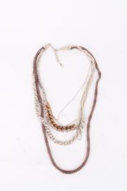 Missoni Bronze Silver Multi Strand Silk Woven Chain Necklace