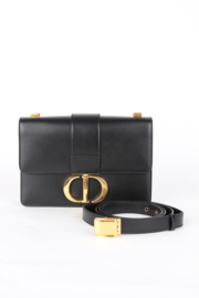Christian Dior 30 Montaigne Black Leather Medium CD Logo Gold Coloured Hardware Crossbody Shoulder Hand Bag