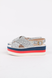 Gucci Glitter Crossover Patform Sandals