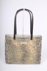 Roberto Cavalli Mesh Snake Print Bag - brown/beige