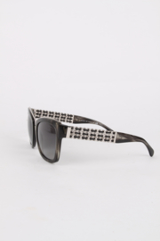 Chanel Grey Resin Silver Chain Metal Retro Oversized Sunglasses