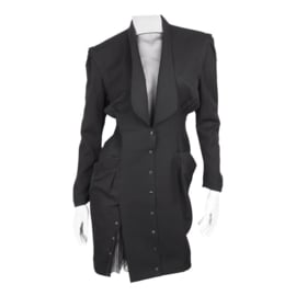 Thierry Mugler Black Knee Length Detachable Sleeves Dress