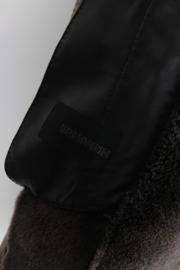 Ermanno Scervino Black Iridiscent Metallic Green Shearling Leather Long Sleeve Fur Coat