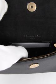 Christian Dior Black Leather Medium CD Logo Gold Coloured Hardware Saddle Pouch Belt Waist Bum Bag