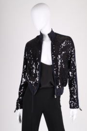 Chanel Sports Line Sequin Bomber Jacket - dark blue