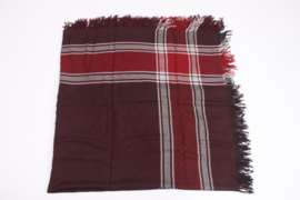 Gucci Checkered Scarf - burgundy red