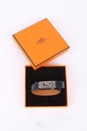 Hermès Black Leather Kelly Double Tour Bracelet