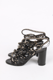 Balmain Strappy Studded Sandals - black